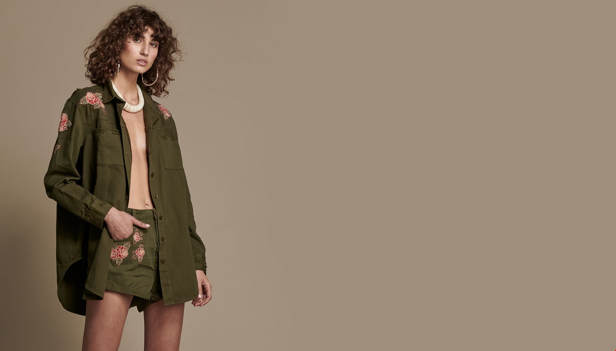 OLIVE WILD ROSE MILITARY SHIRT
