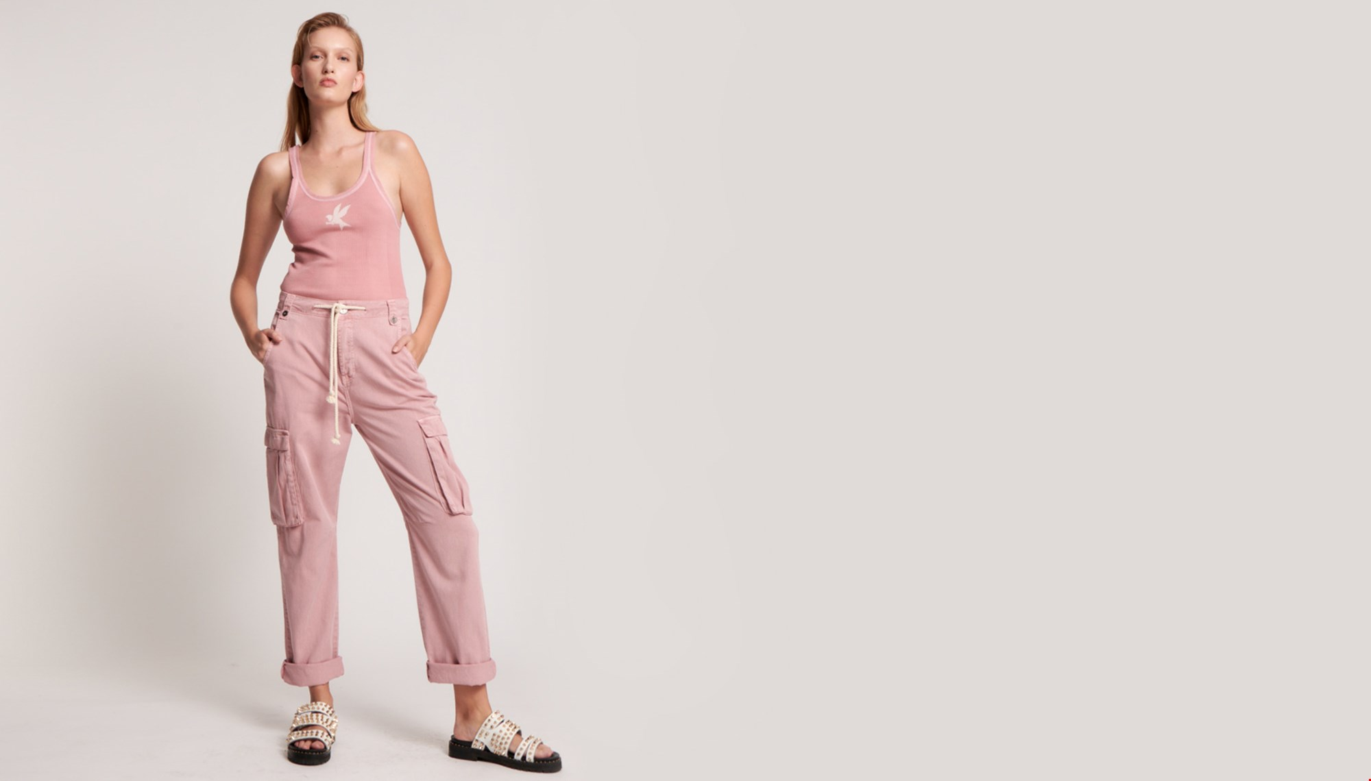 DIRTY PINK CARGO SAFARI MID WAIST RELAXED PANT