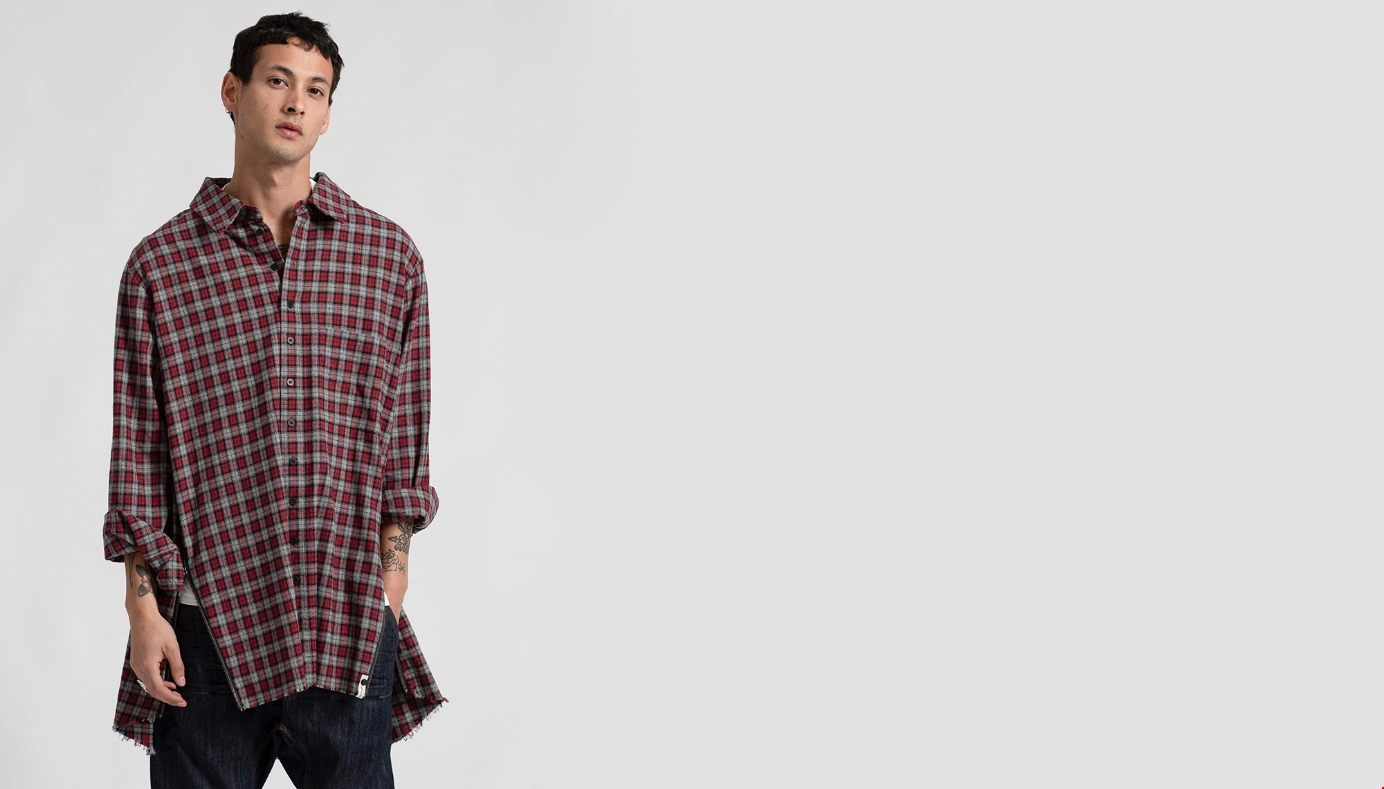 UPSIZED CHECK ZIP SHIRT