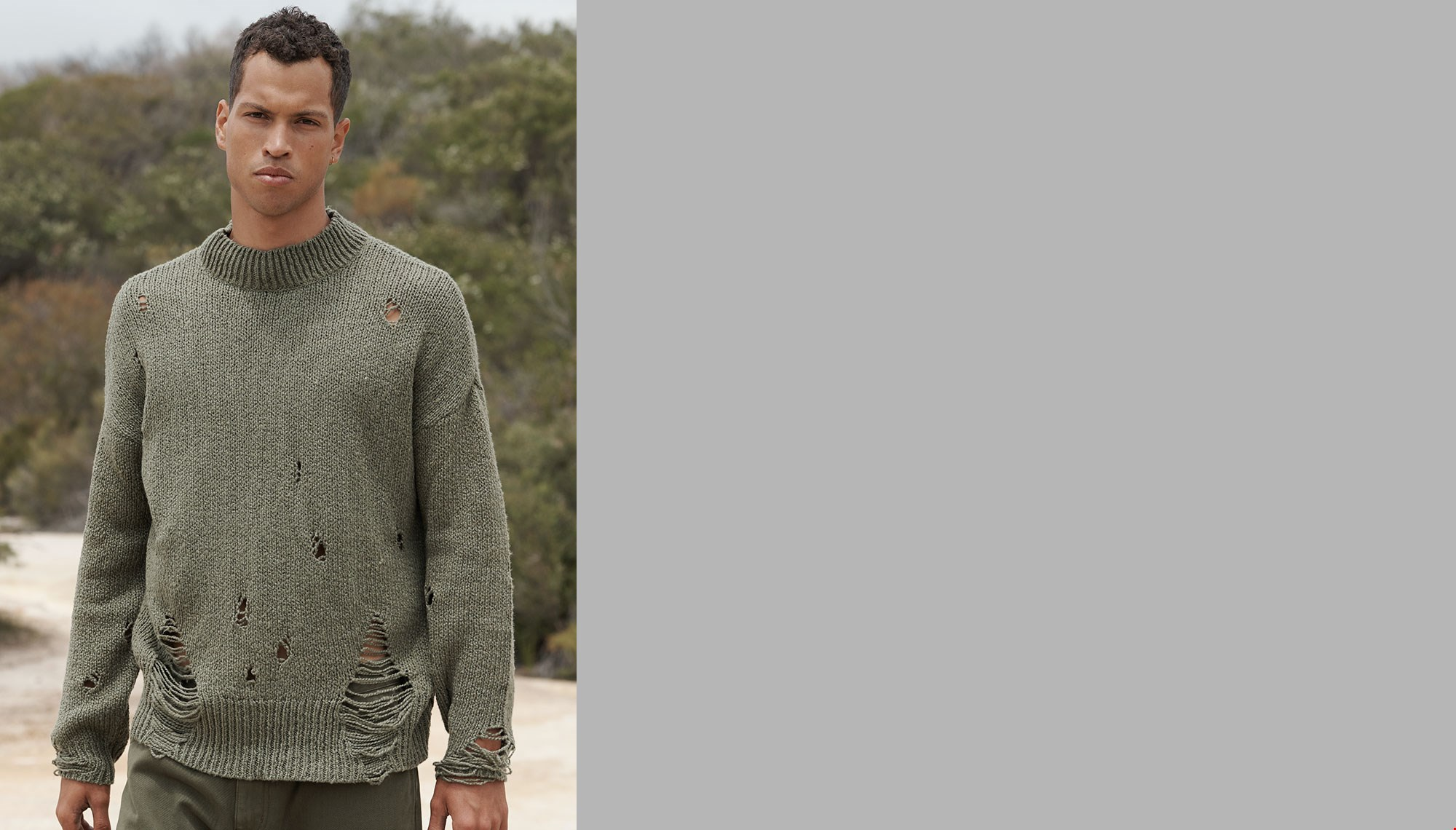 KHAKI DESTROYED FISHERMANS KNIT SWEATER